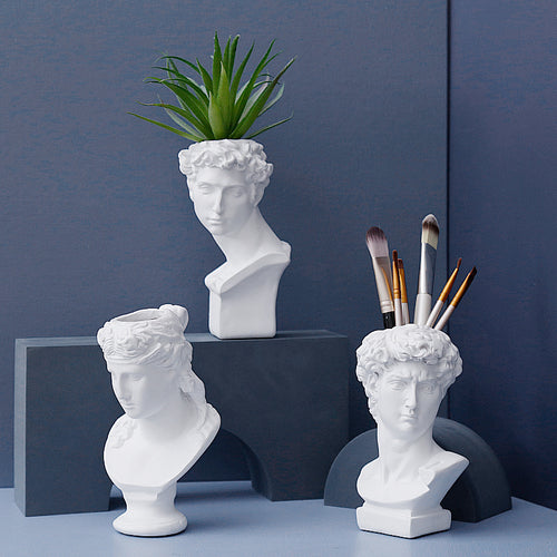 Greek-Roman Mythology Planter Vase Sculpture Succulents Flowers Head Statue David