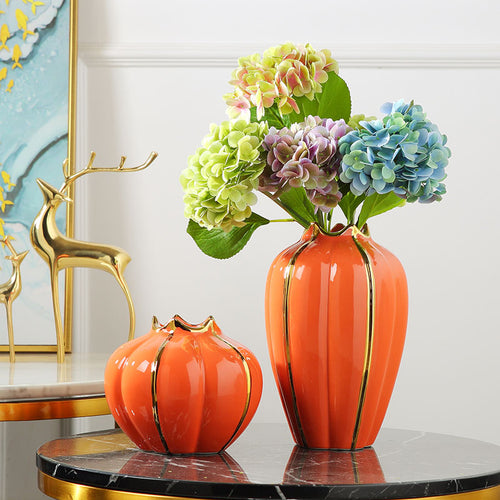 Targen Artificial Pumpkins Vase for Decoration