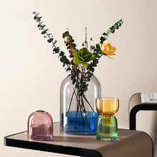 Load image into Gallery viewer, Geometric Transparent Contrast Colored Glass Vase