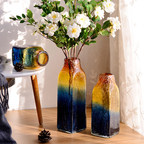 Handicraft Art Glass Vase Blue And Yellow Glass Flower Vase - Targen