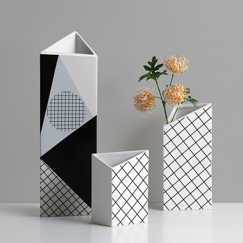 Flower Arrangement Ceramic Desktop Art Geometric Model Vase - Targen
