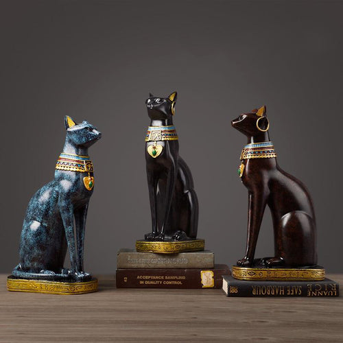 Egyptian Cat Figurine Resin Craft Vintage Ornaments Modern Statue - Targen