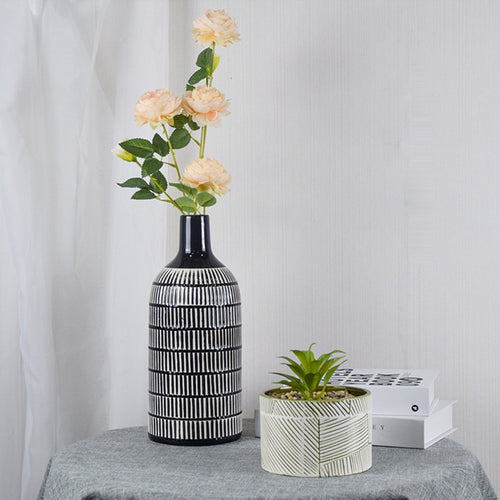 Ceramic Black and White Lines Plant Pot Dried Flower Vase Decorative Ornaments - Targen