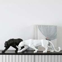 Load image into Gallery viewer, Modern Abstract Black and White Geometric Leopard Statue Animal Figurine - Targen