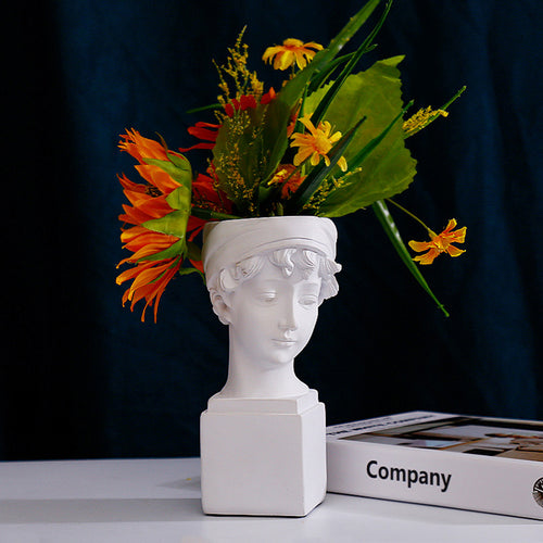 Resin Female Statue Lady Head Cement Planter