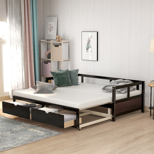 Wooden Extendable Bed With Trundle Bed And Two Storage Drawers
