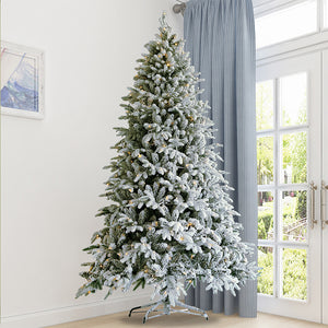 Snow Flocked Christmas Tree 7.5ft Artificial Hinged Pine Tree