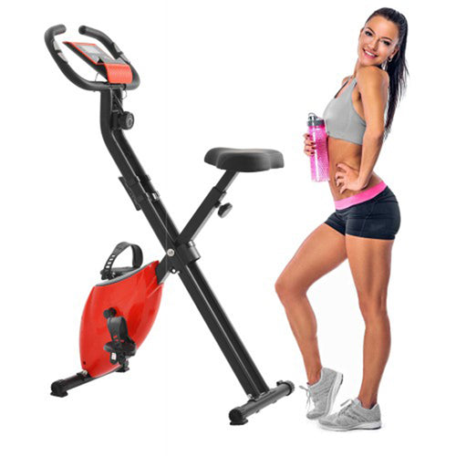 Folding Exercise Bike with 8-Level Adjustable Resistance Adjustable Seat LCD Monitor