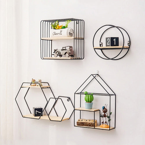 Storage Rack Multi Shape Metal Iron Wooden Storage Holders - Targen