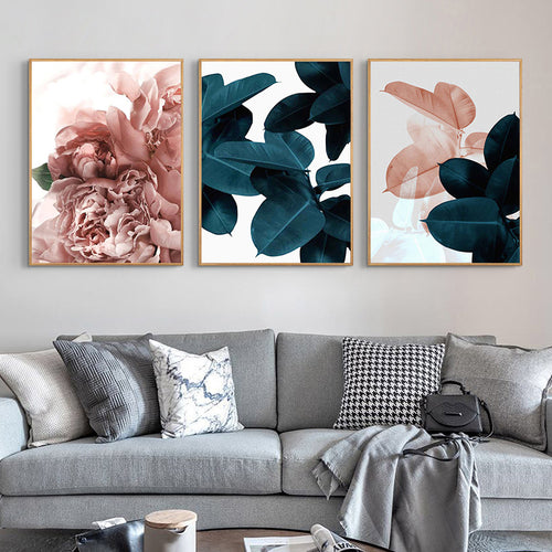 Modern Abstract Pink Flower Green Plants Poster Print Canvas - Targen