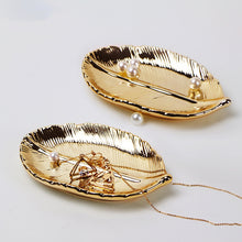 Load image into Gallery viewer, Tree Leaf Jewelry Snacks Dessert  Enamel Trinket Ceramic Dish - Targen