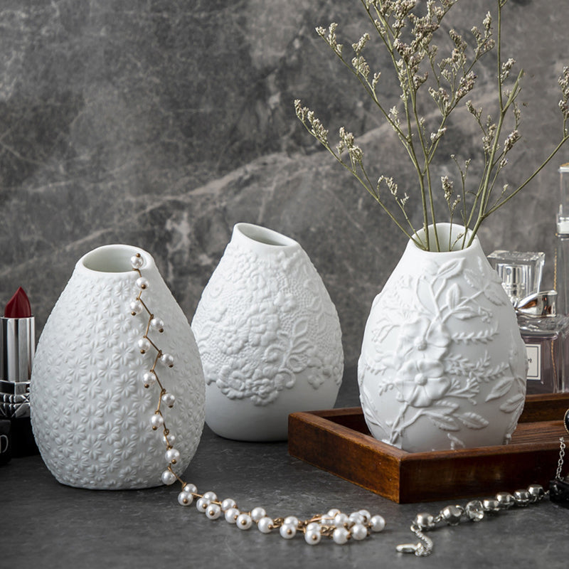 White Ceramic Bud Vase Set of 3 with Different Embossed Design Flower - Targen