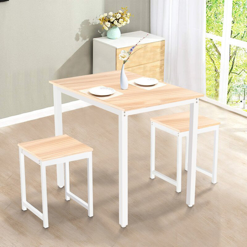 3 Pieces Dining Table Set with 2 Stools for Home Living Room