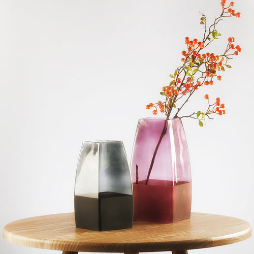 Targen Gradient Frosted Cranberry Glass Vase