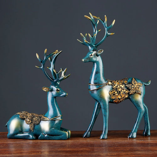Deer Figurine Statue European Style Crafts Creative Sculpture - Targen