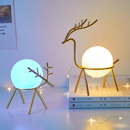 Nordic Deer Shape Frame Desktop Decorations With Cute Night Light - Targen