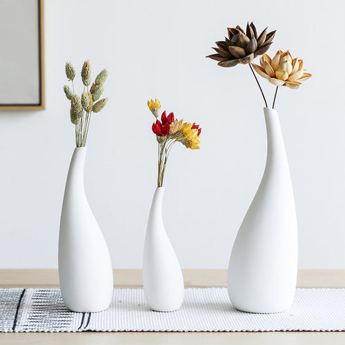 Pure White Vegetarian Ceramic Figurines Desktop Dried Flower Vase - Targen