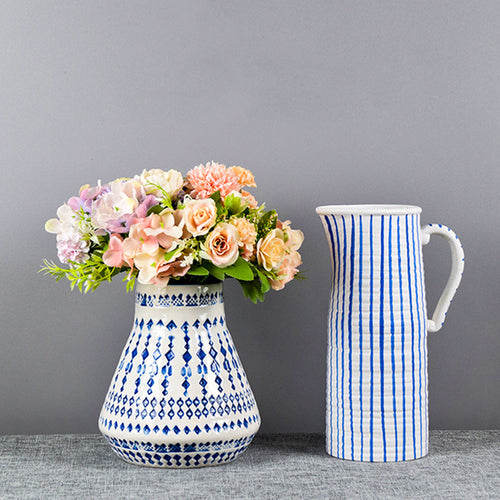 Mug-shaped Striped Vase Creative Ceramic Flower Pot Decorative Ornaments - Targen