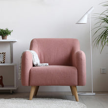 Load image into Gallery viewer, Wood Pink Chair Hotel Sofa Chairs Cafe Nordic Fabric Chair Bedroom  Armchair - Targen
