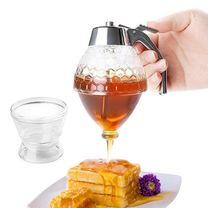 200ml Clear Honey Dispenser Acrylic Kitchen Holder Pot Container - Targen