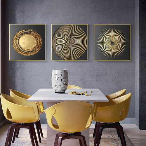 Abstract Gold Black Minimalist Nordic Canvas Art Painting Home Decor - Targen