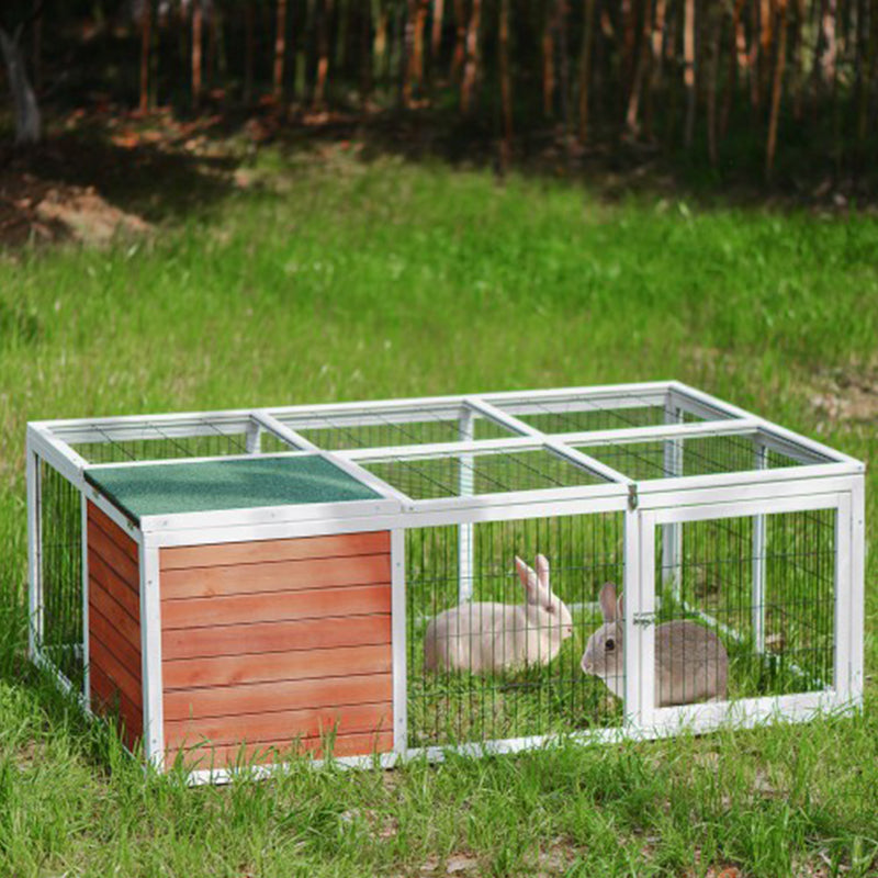 Pet House Small Animal Cage with Enclosed Run for Outdoor Garden Backyard - Targen
