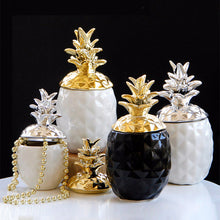 Load image into Gallery viewer, Golden Silver Ceramic Pineapple Storage Jar Cute Decorative Jewelry Storage - Targen