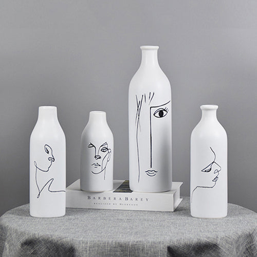 Ceramic Minimalist Lines Face Vases for Home Decor