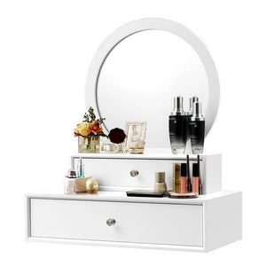 Furniture White Makeup Dresser Table Dressing Wall Mounted Vanity Mirror with 2 Drawer - Targen