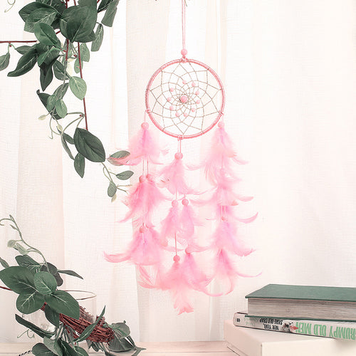 Pink Handmade Dream Catcher Wall Hanging Feather Decorations Gift - Targen