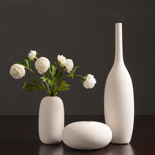 Northern European-Style White Ceramic Vase Flower Container - Targen