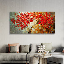 Load image into Gallery viewer, Oil Painting Abstract Red Flower Tree Knife On Canvas - Targen