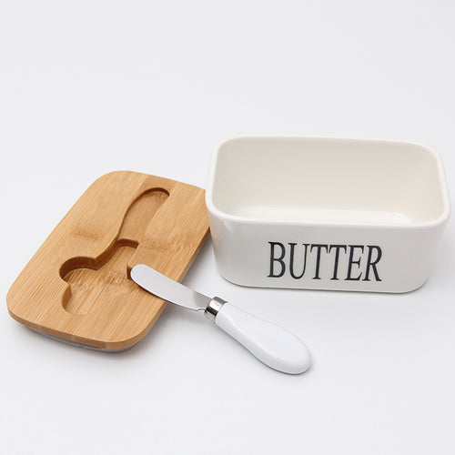 Butter Box With Wood Lid Ceramic Sealing Tool Container - Targen