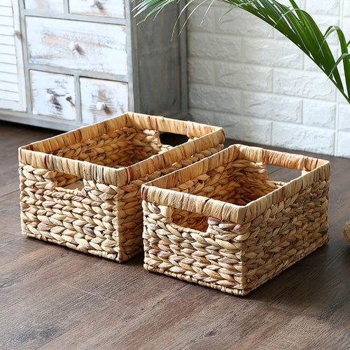 Desktop storage basket Natural Straw Rectangular Wire Handles Decor - Targen