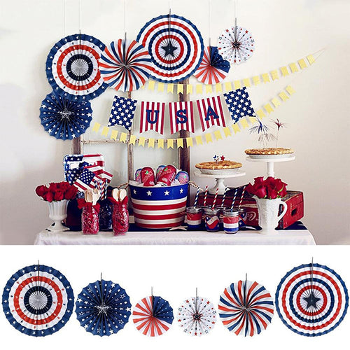 Set Of 6 Colorful Patriotic Hanging Pinwheel Fan Welcome Backdrop Independence USA Flag Party Decor