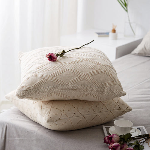 Pilllow Cover Solid Beige Kniited Pillowcase Wool For Backrest - Targen