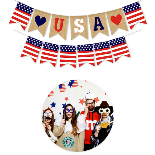 USA Swallowtail Banners Independence Day String Flags USA Letters Bunting Banners Party Decoration