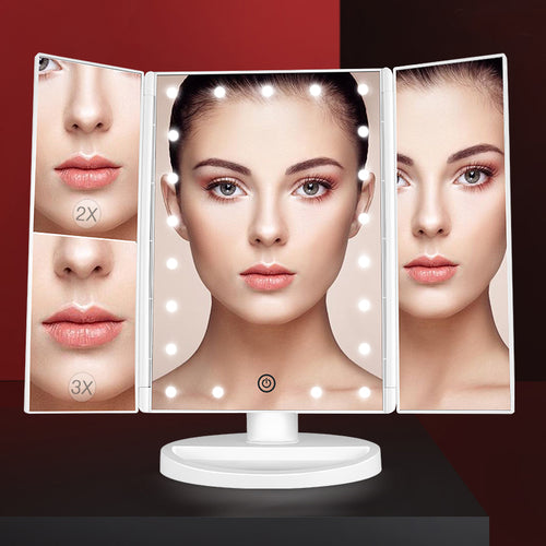 Makeup Vanity Mirror with Lights 21 Led Lighted Mirror with Touch Screen Portable Trifold Mirror - Targen
