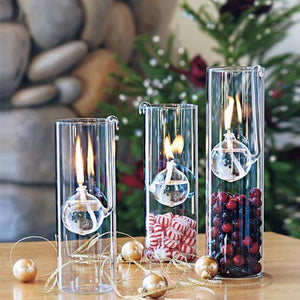 Romantic Transparent Glass Cylindrical Oil Lamp Gift Candle Holder - Targen