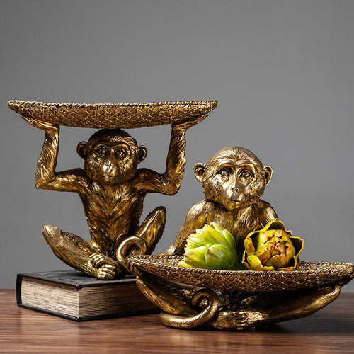 Monkey Fruit Storage Snack Tray Resin Sculpture Key Storage Box - Targen