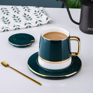 Coffee Cup Resistance Ceramic Mugs With Spoon Lid Espresso Glasses - Targen