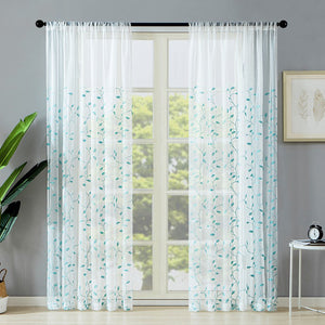 Curtains Leaf Embroidered Embroidery Sheer Curtain Panels Bedroom Rod Pocket Window Treatment - Targen