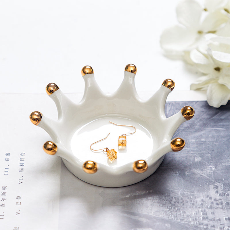 Crown Painting Gold Ceramic Small Dish Jewelry Storage Tray - Targen