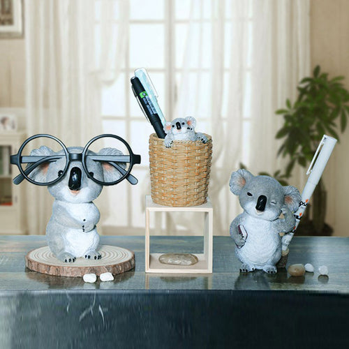 Koala Figurines Statues Resin Glasses Stand Pencil Holder - Targen