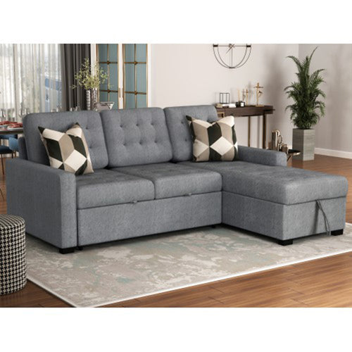 Beige Brown Grey Upholstery Sleeper Sectional Sofa - Targen