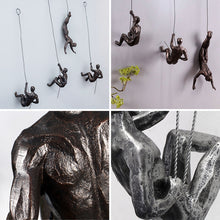 Load image into Gallery viewer, Industrial Style Sculpture Resin Iron Climbing Men Wire Retro Figures Wall Hanging - Targen