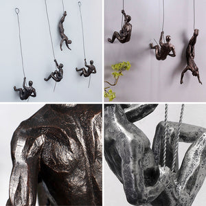 Industrial Style Sculpture Resin Iron Climbing Men Wire Retro Figures Wall Hanging - Targen