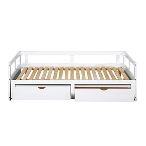 Wooden Daybed with Trundle Bed and Two Storage Drawers Extendable Bed