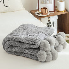 Load image into Gallery viewer, Chenille Plush Throw Blanket with Handmade Pom Poms