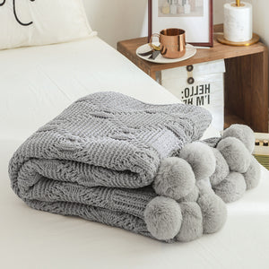 Chenille Plush Throw Blanket with Handmade Pom Poms